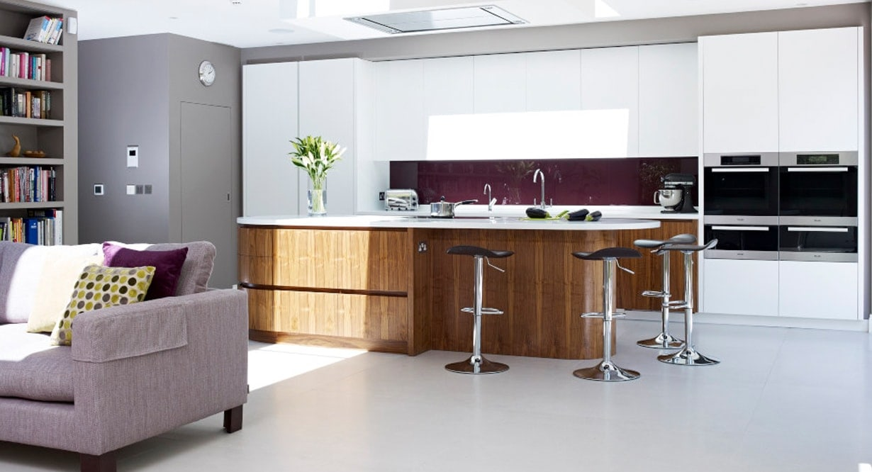 White, purple and wood Heritage kitchen concept