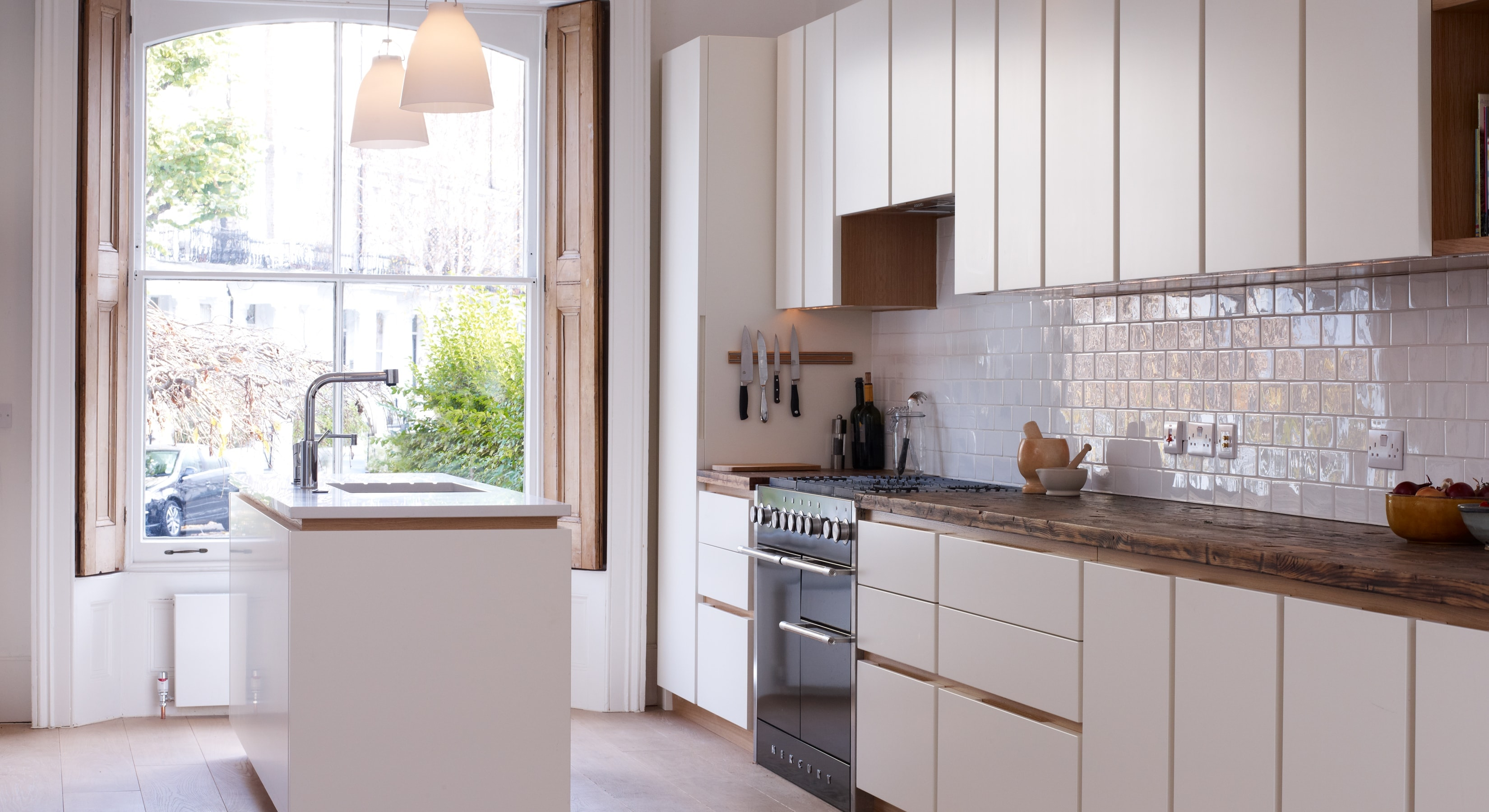 White and wood effect kitchen concept