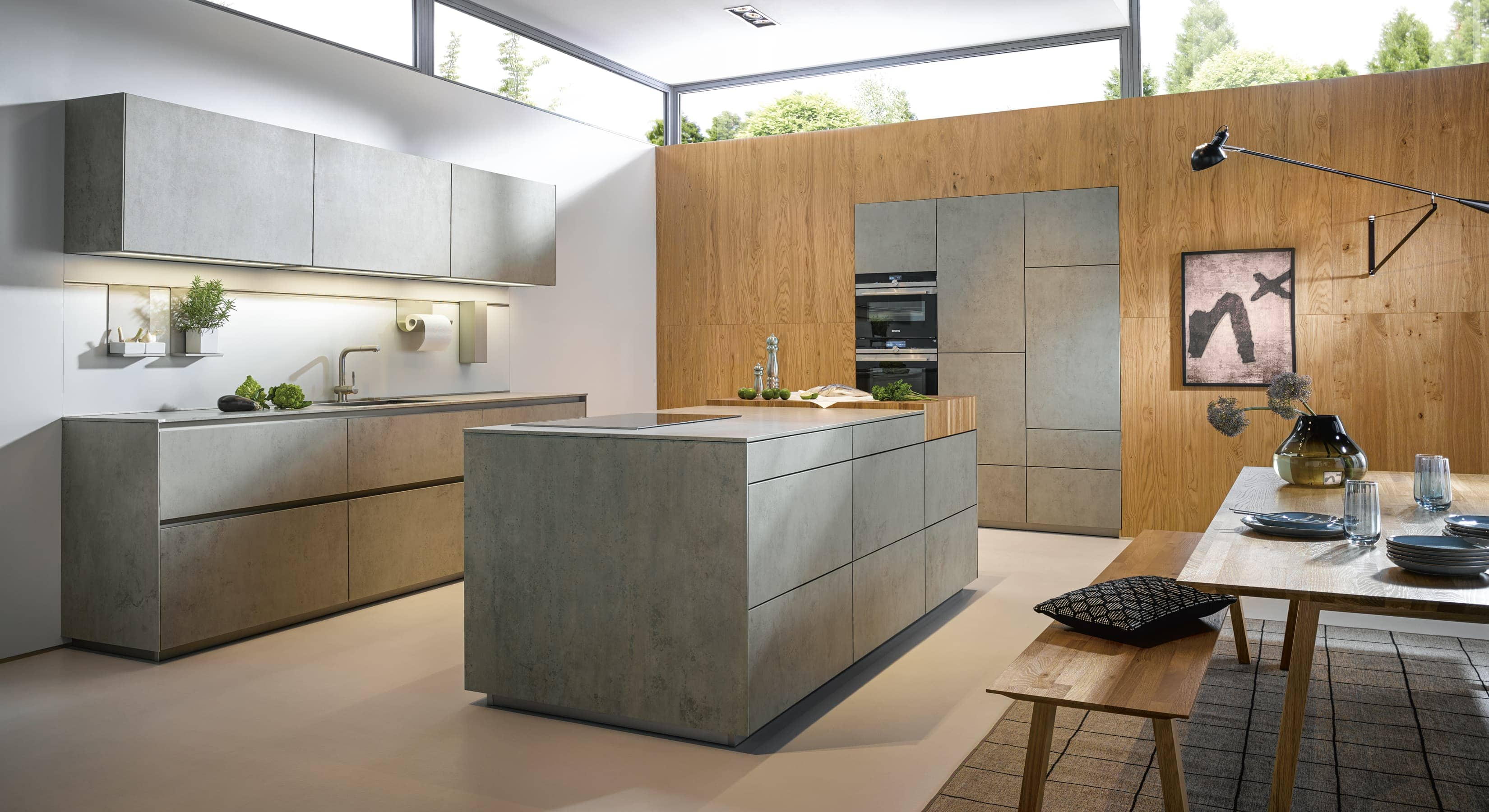 Contemporary cement and wood kitchen concept
