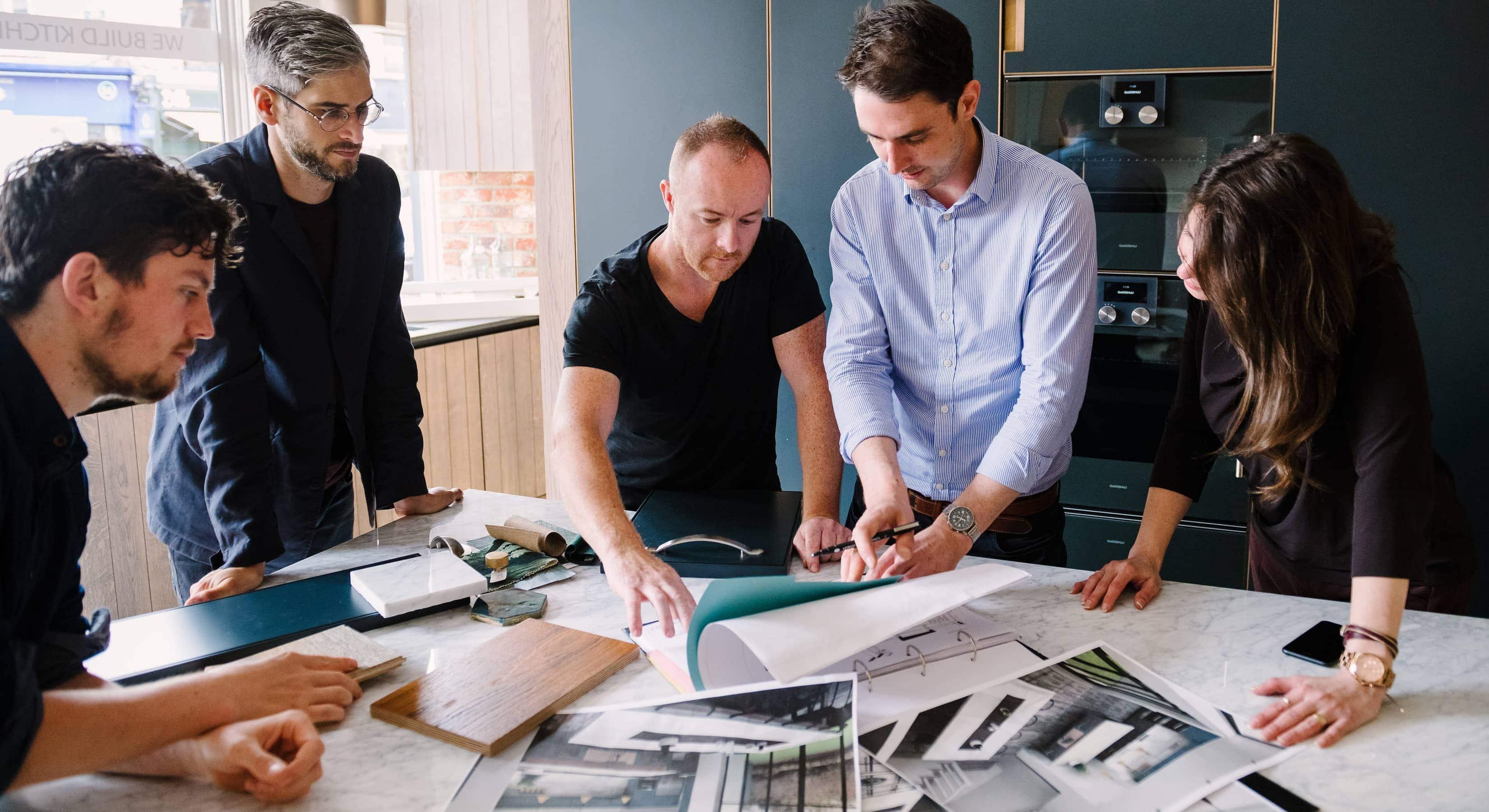 Team choosing materials for a kitchen design