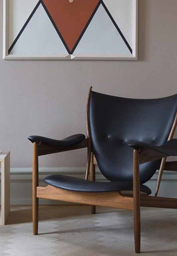 Dark leather and wood chair