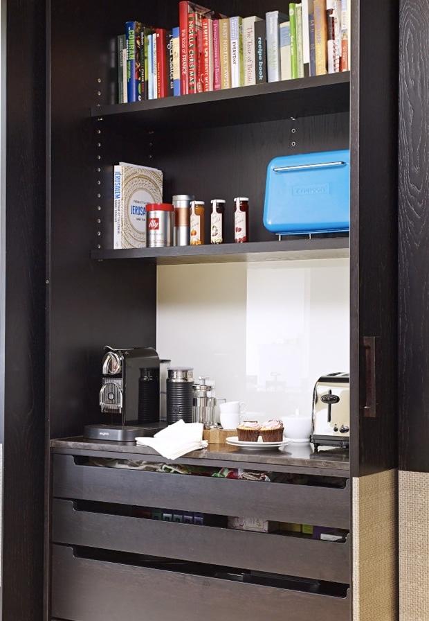 Hidden breakfast unit in the Notting kitchen extension