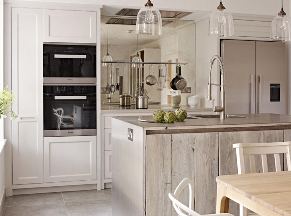 Heritage wood effect kitchen island