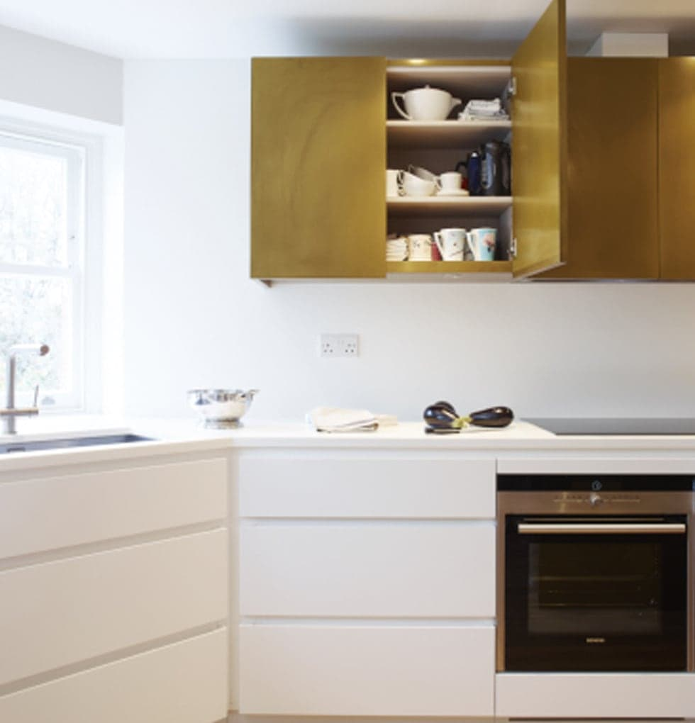 White and gold units from the Horley kitchen extension concept