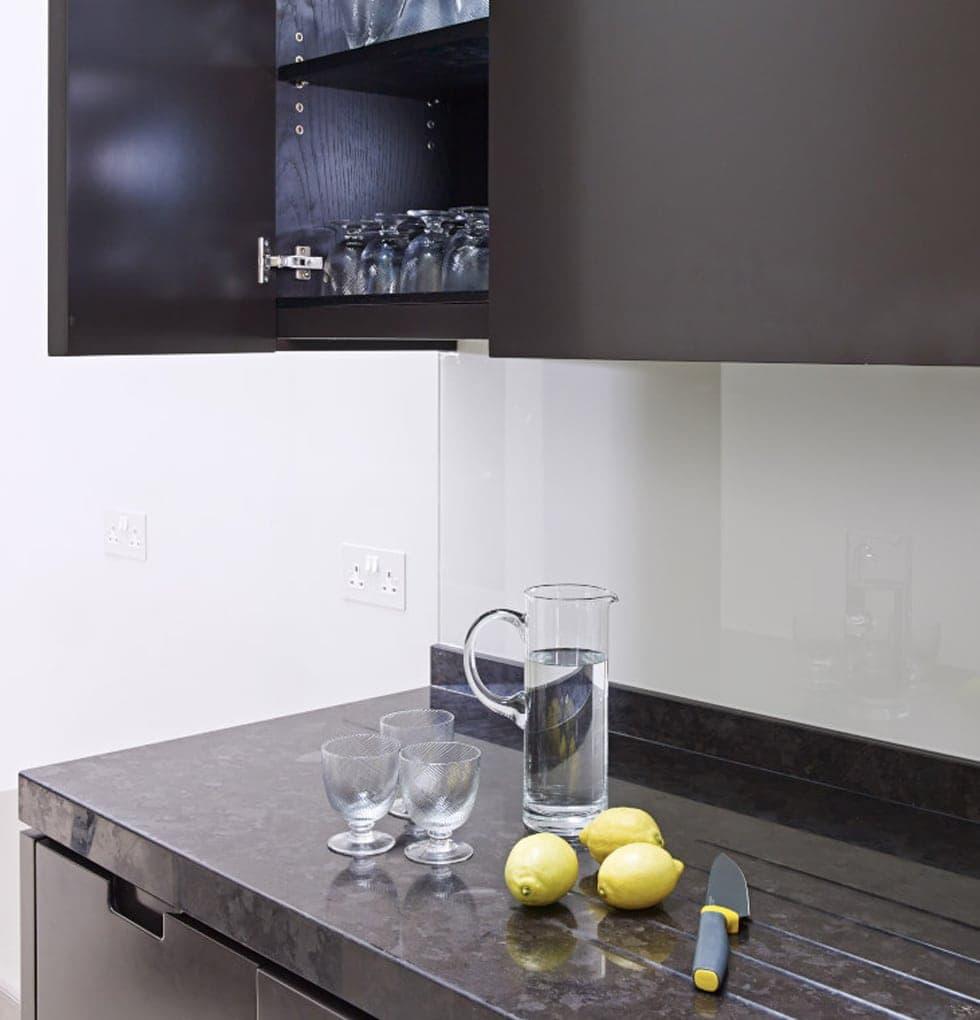 Notting kitchen worktop and sleek cabinets
