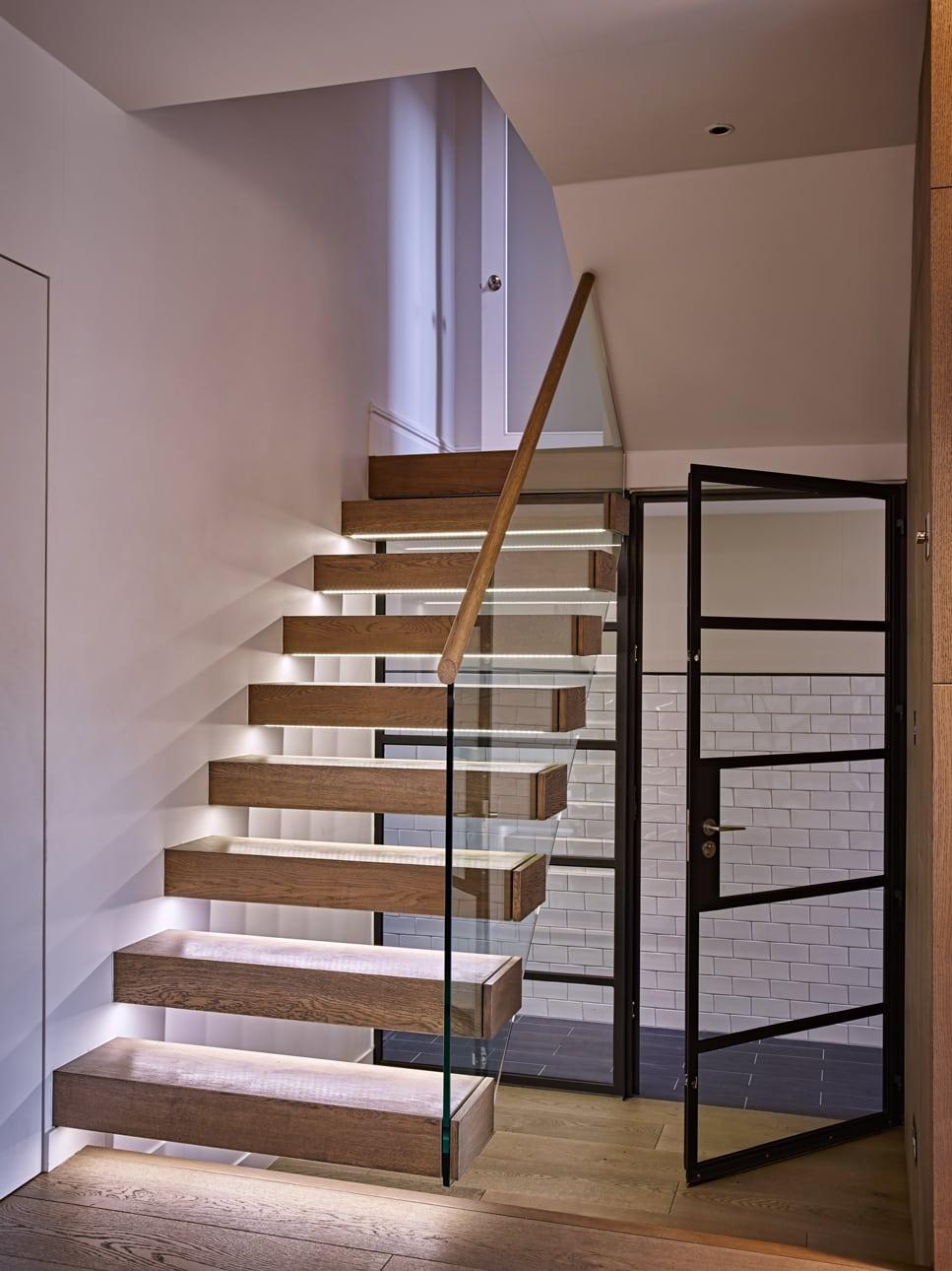 Under lite wooden sleeper staircase