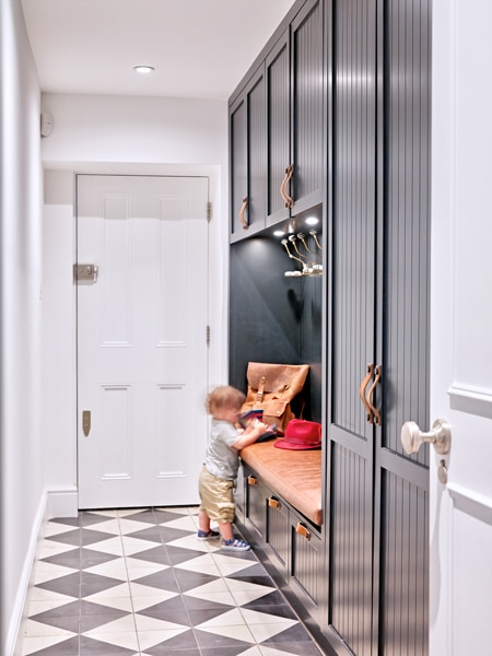 Cloakroom concept with tiled flooring.