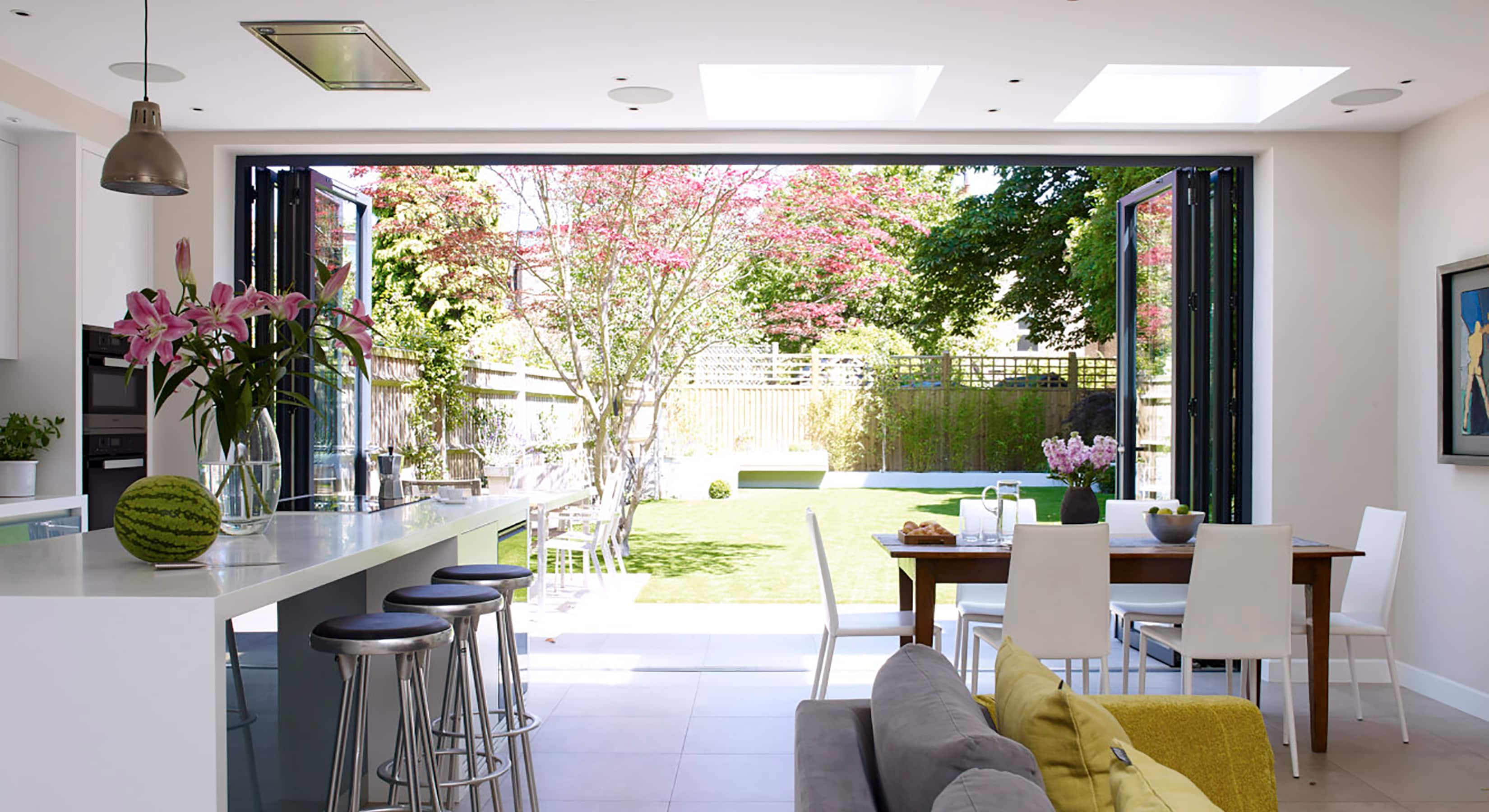 View out to the garden from within a Pike kitchen extension concept