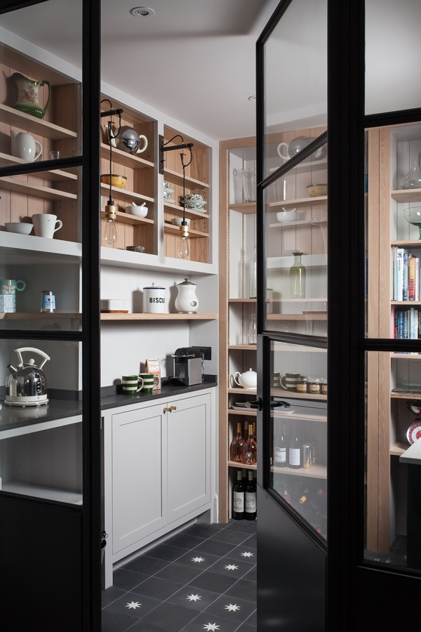 Industrial and farmhouse style pantry concept