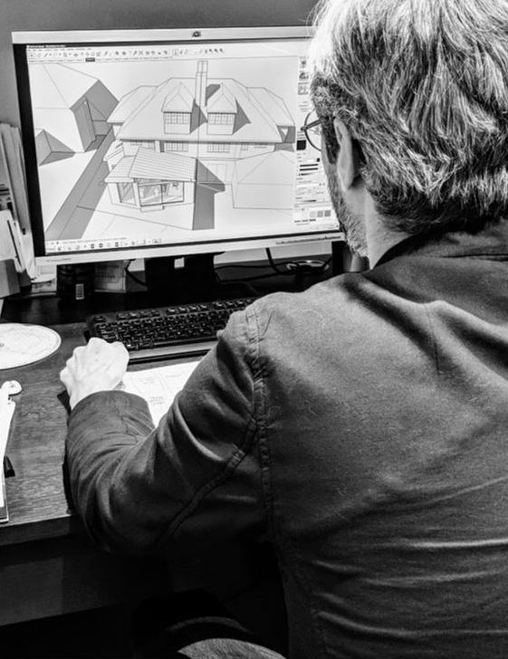 Designer creating a 3D concept drawing for kitchen extension