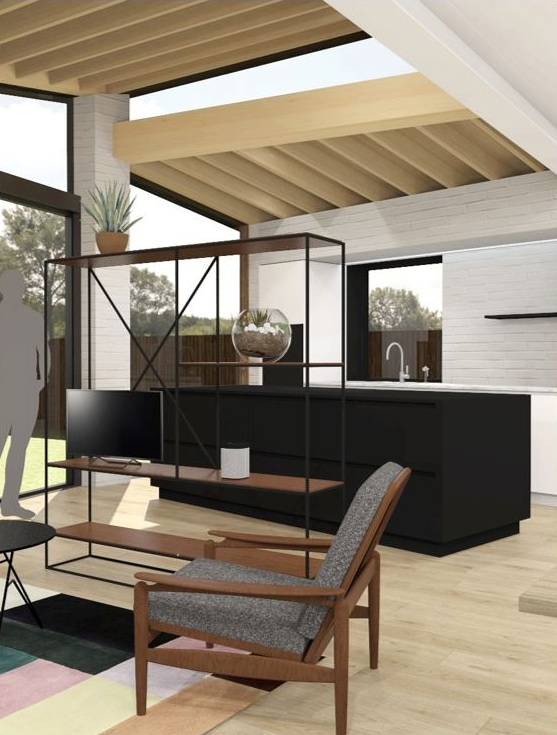 CAD drawing design concept of kitchen extension