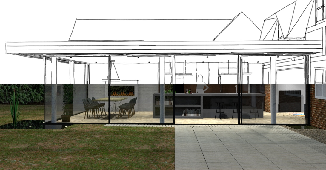 Design concept drawing for kitchen extension