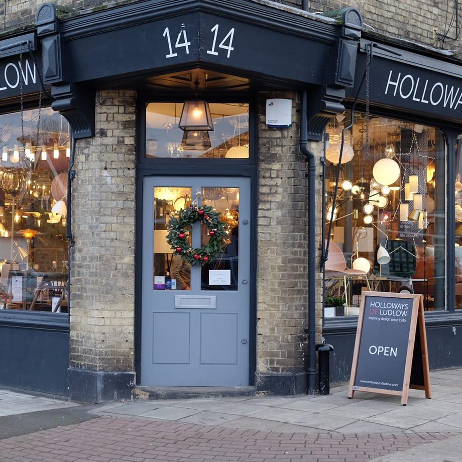 Holloways of Ludlow lighting shop front.